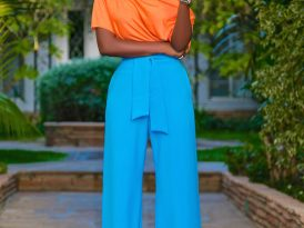 Off Shoulder Top + Belted High Waist Pants