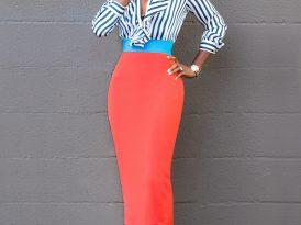Striped Ruffle Shirt + Color Block Pencil Skirt