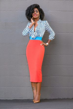 Striped Ruffle Shirt + Color Block Pencil Skirt