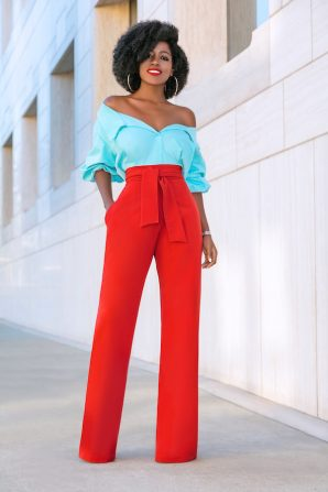 Off Shoulder Color Block Jumpsuit
