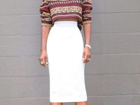Embroidered Crop Top + High Waist Pencil Skirt