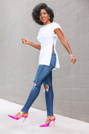 Ruched Side Zip Top + Ripped Skinny Jeans