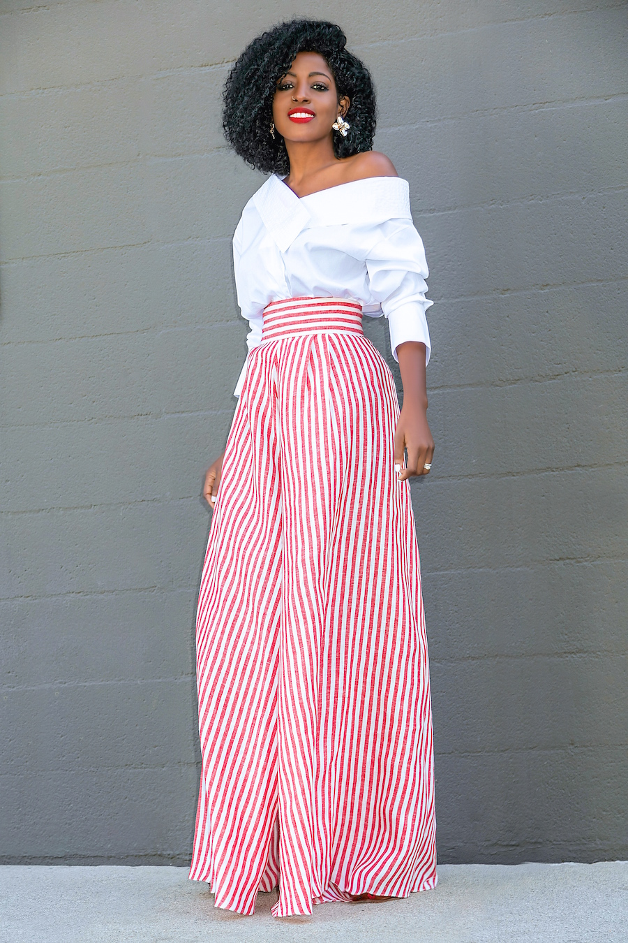 f766087d93 Style Pantry | Off Shoulder White Shirt + Striped Palazzo Pants