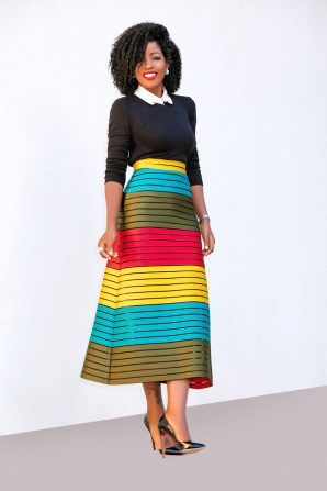 Collared Crew Neck + Color Block Midi Skirt