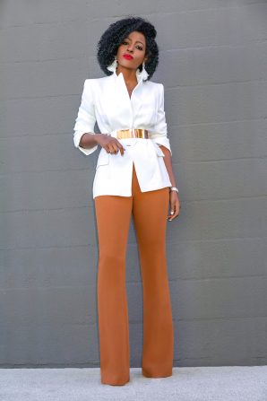 White Single Button Blazer + High Waist Pants
