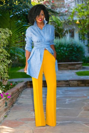 Belted Denim Tunic + Wide Leg Trousers