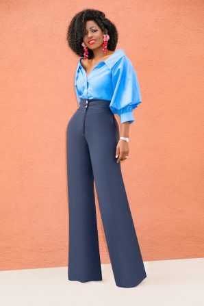 Puff Sleeve Shirt + High Waist Linen Pants