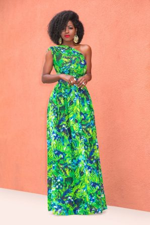 One Shoulder Print Maxi Dress