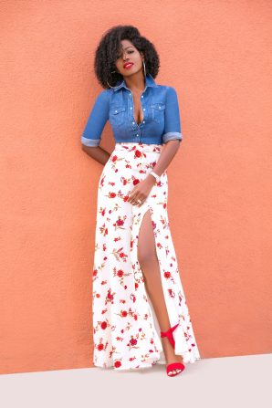 Fitted Denim Shirt + Floral Print Belted Skirt