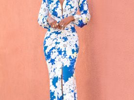Floral Deep V-Maxi Dress w/Ruching