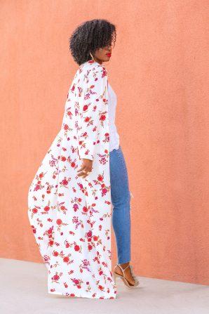Floral Kimono + Tank + Ripped Jeans