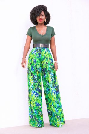 V-Neck Bodysuit + High Waist Floral Pants