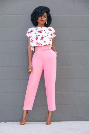 Floral Crop Top + Belted Pegged Trousers