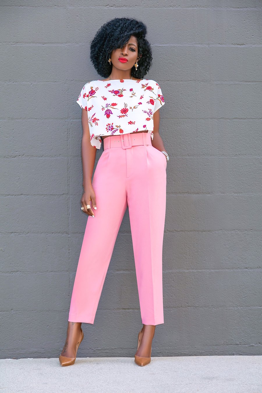 Style Pantry Floral Crop Top Belted Pegged Trousers