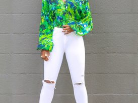 Floral Bishop Sleeve Bodysuit + Ripped White Jeans