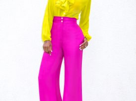 Front Tie Blouse + High Waist Wide Leg Pants