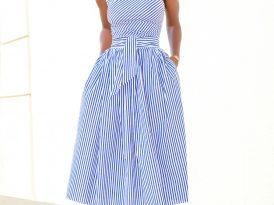 One Shoulder Striped Midi Dress