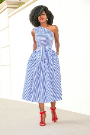 One Shoulder Striped Midi Dress