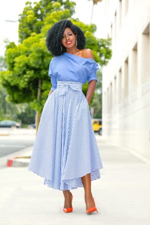 Off Shoulder Chambray Top + Belted Striped Midi Skirt