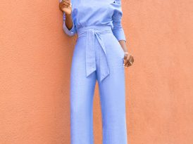 Chambray Buttoned Shoulder Shirt + High Waist Chambray Pants