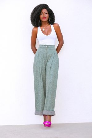 Tank Bodysuit + High Rise Wide Leg Pants