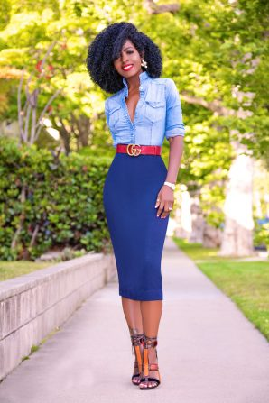 Fitted Denim Shirt + Pencil Midi Skirt