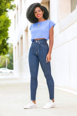 Chambray Crop Top + Levi's High Waist Jeans