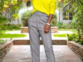 Neon Off Shoulder (DIY) Sweater + Belted High Waist Pants
