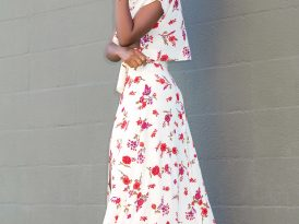 Floral Crop Top + Floral High Waist Skirt