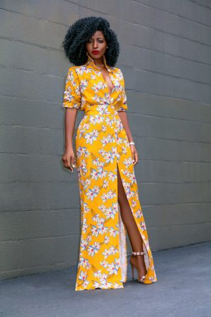 Printed Linen Maxi Shirt Dress