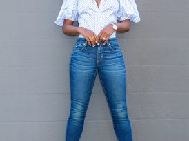 Short Puff Sleeve Shirt + Amo Twist Jeans