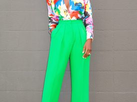 Floral Print Bodysuit + High Waist Ankle Length Pants