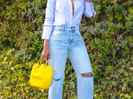 Oxford Button Down Shirt + High Rise Straight Leg Jeans