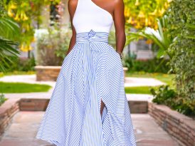One Shoulder Tank + Striped Belted Midi Skirt