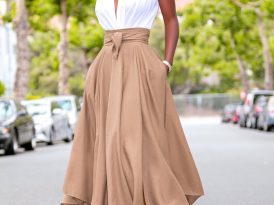 Draped Bodysuit + High Waist Belted Midi Skirt