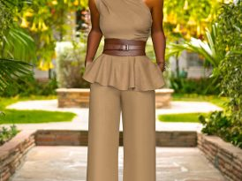 One Shoulder Peplum Top + High Waist Wide Leg Pants