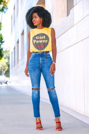 Girl Power Tee + High Waist Ripped Jeans