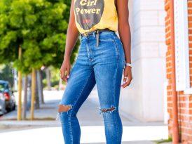 Girl Power Tee + High Waist Ripped Jeans
