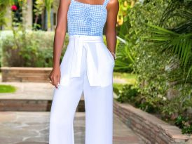 Gingham Tank + High Waist Belted Pants