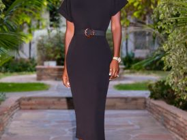 Black Midi Dress w/ Folded Sleeves