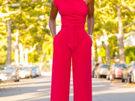 Red One Shoulder Drape Jumpsuit