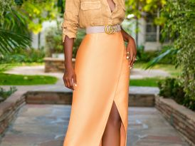 Linen Button Down + Faux Wrap Midi Skirt