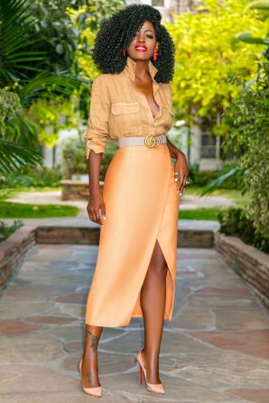 Linen Button Down + Faux Wrap Midi Skirt