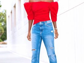 Ruched Off Shoulder Top + Distressed Boyfriend Jeans