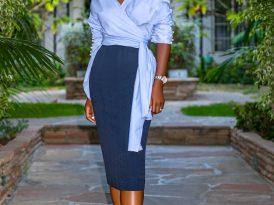 Wrap Button Down Shirt + Pencil Midi Skirt