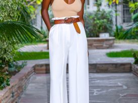 Tank Bodysuit + Paper Bag Waist Trousers