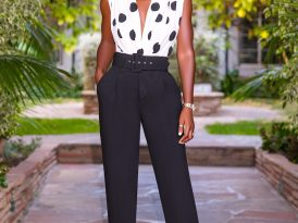 Draped Bodysuit + Belted High Waist Pants