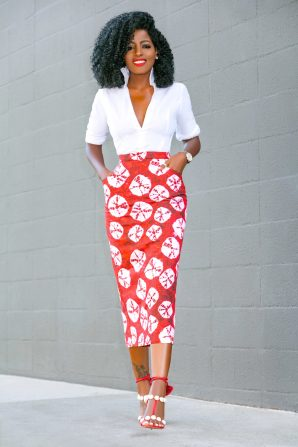 Fitted White Shirt + Printed Pencil Skirt
