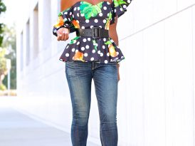 Off Shoulder Printed Peplum + Ankle Length Jeans