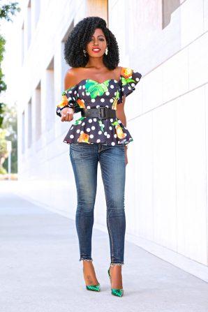 Off Shoulder Printed Peplum + Ankle Length Jeans
